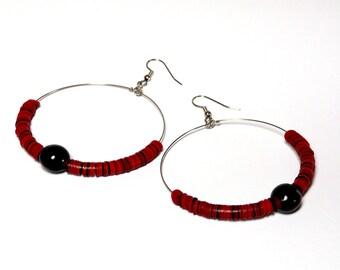 Earrings African tribal-style boho statement bakelite seeds black fire bean