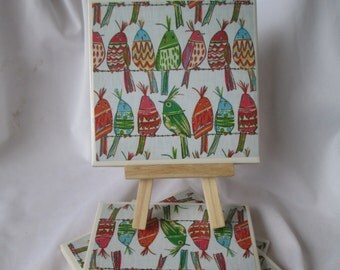 Bird Coasters, Ceramic Tile, coasters, Set of 4, handmade, Drink Coasters, hostess gift, barware,Home Decor,animal coasters