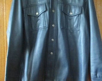 Vintage Royal Knight Navy Blue Faux Leather Jacket