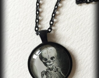 Glass Cameo Gothic Necklace - Fetal / Child's Skeleton
