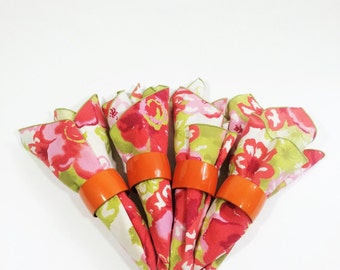 Vintage cloth napkins, floral cloth dinner napkins, from the 1960s