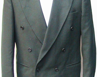 Size 42 L DORMEL ITALY Double Breasted Continental No vent Green Sport Coat