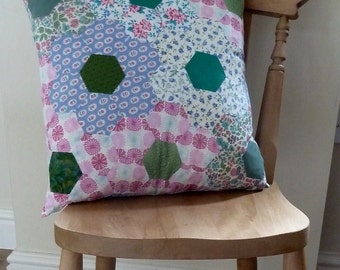 Hand made hexagon patchwork eider down cushion in vintage fabric