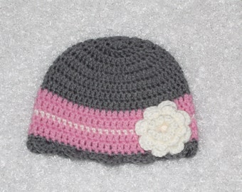 Pink and Gray Crochet Girls Hat with White Flower, 12-24 Months
