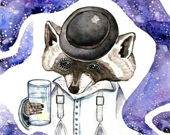 Raccoon Art Print Watercolor Painting Raccoon Nursery Print Raccoon Poster Art Space Watercolor Print Raccoon
