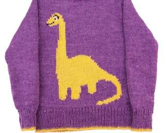 Childrens Diplodocus Dinosaur Motif Knitting Pattern, Childs Sweater, Knitting Pattern PDF