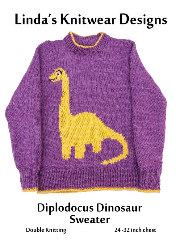 Childrens Diplodocus Dinosaur Motif Knitting Pattern Childs