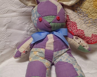 Quilted Bunny. Nursery Decor. Vintage Quilt. Rabbit. Bunny. Rustic. Primitive. Patchwork. Salvaged. Handmade. One-of-a-Kind. Stuffed Animal.