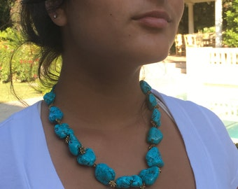 Chunky Turquoise Necklace with Gold Stars