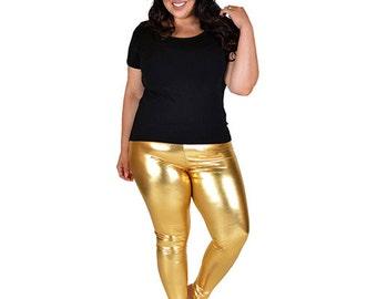 Plus Size Shiny Metallic Leggings