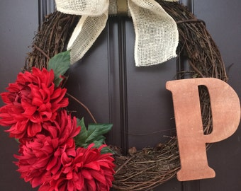 Red Dahlia Wreath
