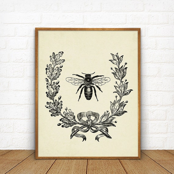 Bee Home Decor: Vintage French Bee With Berry Wreath Botanical Art Printable
