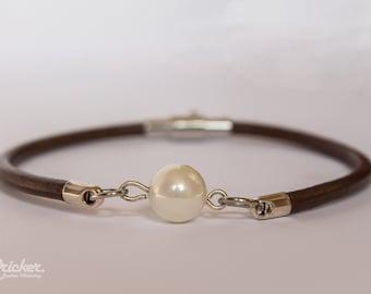 Leather Bracelet/Semi Precious Stones/ Summer Bracelet