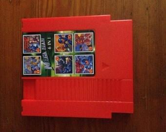 Mega Man 1-6 Red NES Nintendo Cartridge