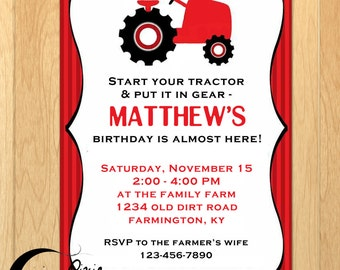 Farm Tractor Printable Birthday Invitation - Personalized Birthday Party. Country Customized Printable Digital