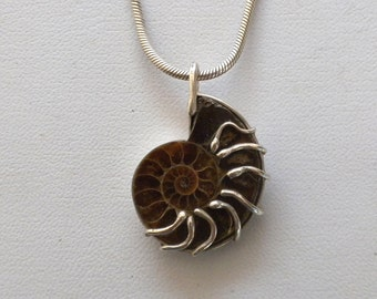 9.25 sterling silver ammonite fossil handmade pendant