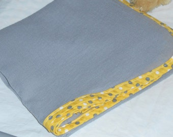 Baby Blanket Handmade, Gray Blanket with Yellow Trim, Gray Swaddle Blanket Girls Boys, Baby Gift, Baby Shower, Gauze Baby Blanket