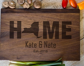 Custom Engraved Cutting Board, Personalized Cutting Board, New York, Home, Wedding Gift, Anniversary Bridal Shower Gift, Kitchen Decor #3154