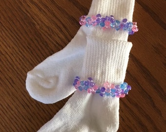 Toddler/Girls Beaded Bobby Socks You Pick Color and Size