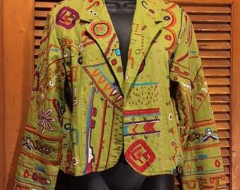 100% Cotton Green Primitive Print Chico's Jacket