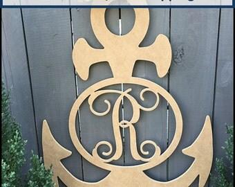 Anchor Monogram, Wooden Letter, Door Hanger, Wall Art, Unfinished, MDF Wood 24 Inch