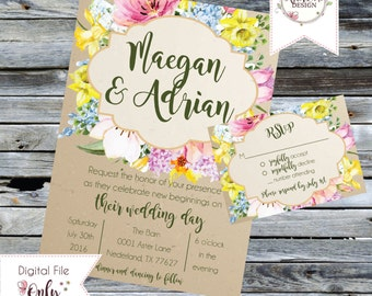 Customizable Floral Wedding Invitation and RSVP Suite (Printable)