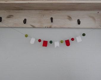 Felt Ball And Mini Bunting Garland...DIY Garland...DIY Kit...Christmas...Wool Felt Ball Garland