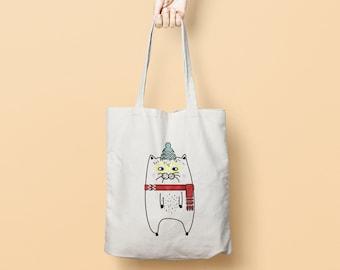 Funny Cat Canvas Tote Bag Dog - Printed Tote Bag - Market Bag - Cotton Tote Bag - Large Canvas Tote - Funny Quote Bag - Cat Tote Bag