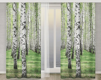 Photo Curtain 3D Birch tree Forest