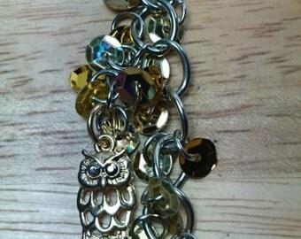 Golden owl keychain