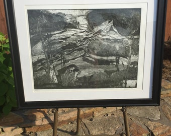 Etching - black and white river