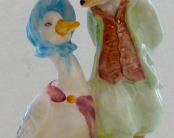 Beatrix Potter Figurine - Jemima Puddle Duck with Foxy Whiskered Gentleman