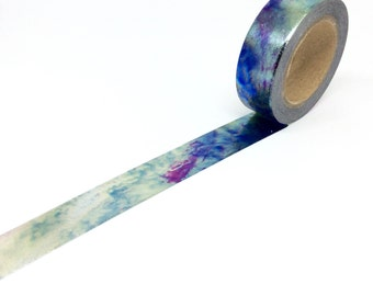 Oil cloud washi tape, Purple, blue and silver Watercolour