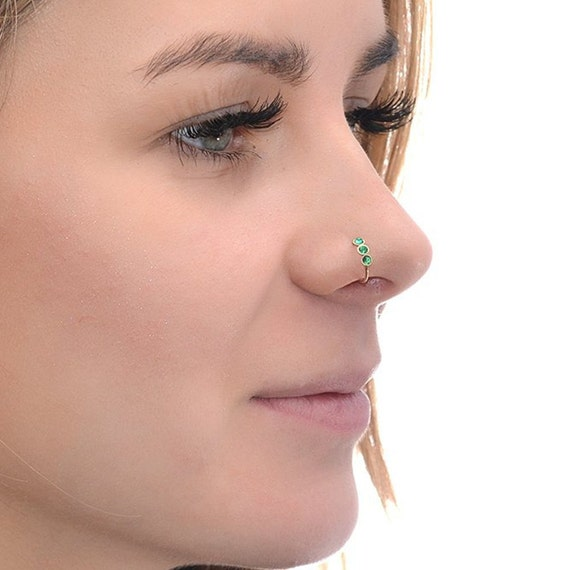 2mm emerald nose ring hoop gold 20g nose hoop tragus ring