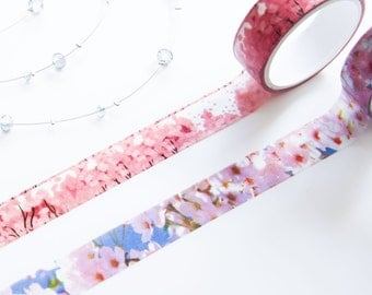 Set of Two Sakura and Cherry Blossom Pink Floral Washi Tapes 15mm/ Flower Masking Tape/ Summer Washi Tape/ Back to School Supplies Tapes