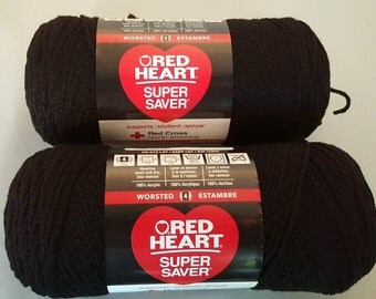 Red Heart Super Saver BLACK Yarn Lot of 2 Skeins 7 oz Worsted Weight 4