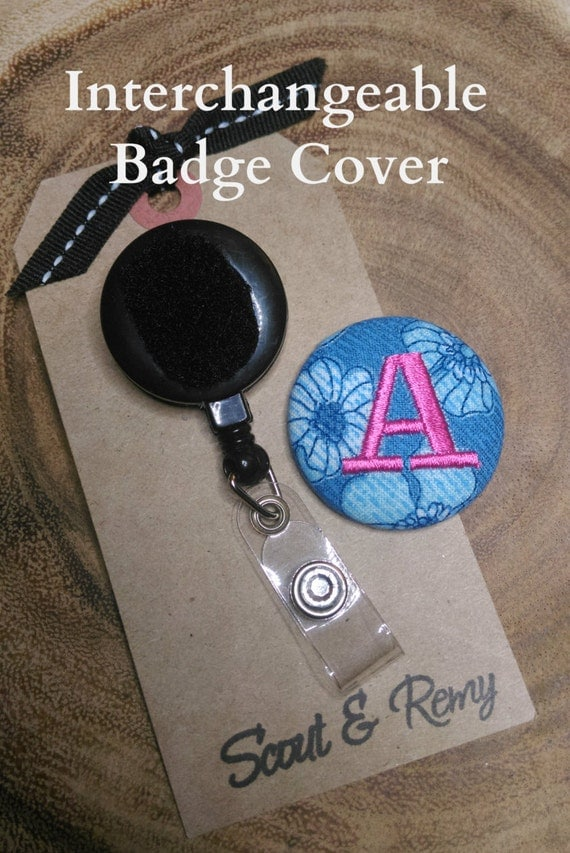 Badge Reel Cover Monogram- Floral Blue- for Scout and Remy Interchangeable Retractable ID Badge Reel