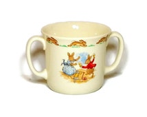Vintage Peter Rabbit Cup Two Handled Mug Bunnykins by Royal Doulton English Bone China Baby Cup Baby Gift
