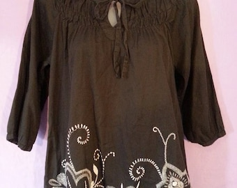 Bohemian Gothic Embroidered Shirt size medium