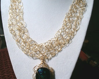 neckless Dichroic glass. Gold fill wire
