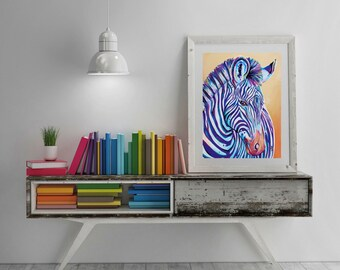 "Zebra Foal Art Print - ""Purple Stripes"""