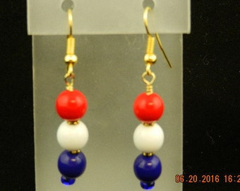 Red, white and blue 4th of July dangle earrings