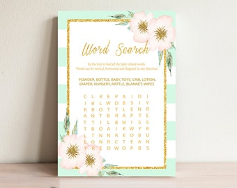 Mint&Gold Word Search Game , Baby shower games, Baby word search, Baby shower activities, Word search cards, Shower word search, Mint-001