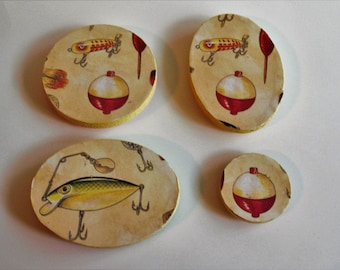 Fishing Bobber Wood Magnet Set