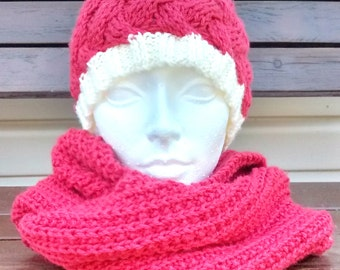 Red infinity scarf two rounds of neck, perfect for winter, hand-knitted scarf