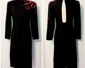 80s Black Dress with Red Asymmetrical Beading and Cut Out Back