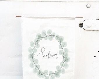 Beloved, Linen Banner, Fabric Banner, Raw Cut Banner, Nursery Decor
