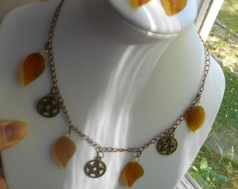 Pentacle and leaf necklace set, necklace and earrings set,Mabon, Autumn Equinox,Samhain,Lammas,Lughnasadh,Wicca,pagan,Renaissance