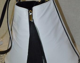 black & white carryall bag
