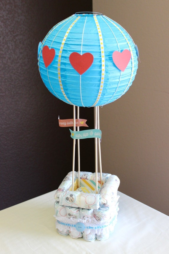 hot air balloon diaper cake baby shower cute by ohmydiapercakes. Black Bedroom Furniture Sets. Home Design Ideas